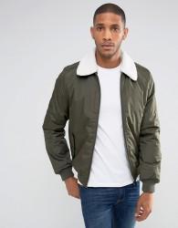 Threadbare Borg Collar Jacket - Green