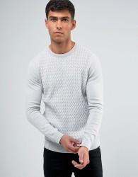 Threadbare Cable Knit Jumper - Grey