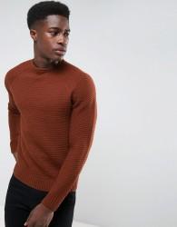 Threadbare Chunky Stitch Knit Jumper - Brown