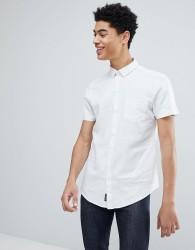 Threadbare Cotton Linen Short Sleeve Shirt - White
