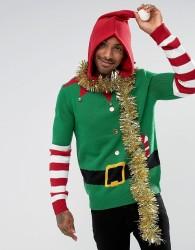 Threadbare Hooded Elf Jumper with Bells - Green