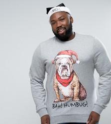 Threadbare PLUS Christmas Dog Sweat - Grey