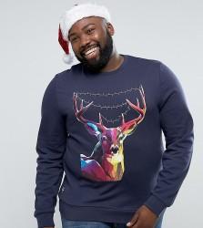 Threadbare PLUS Christmas Reindeer Sweat - Navy