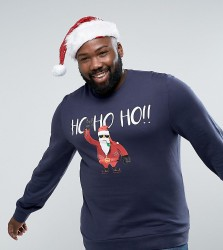Threadbare PLUS Christmas Santa Sweat - Navy
