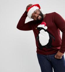 Threadbare PLUS Furry Penguin Christmas Jumper - Red