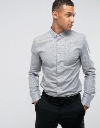 Threadbare Premium Spot Geo Slim Fit Shirt - Grey