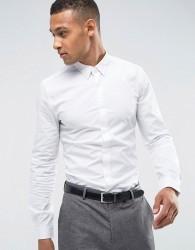 Threadbare Premium Stretch Cotton Slim Fit Shirt - White