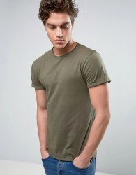Threadbare Raw Edge T-Shirt - Green
