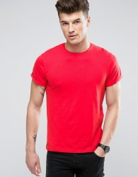Threadbare Raw Edge T-Shirt - Red