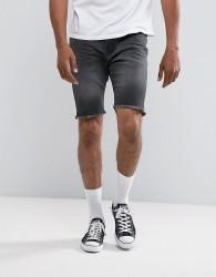 Threadbare Raw Hem Chino Shorts - Black