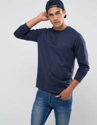 Threadbare Slub Long Sleeve Grandad T-Shirt - Navy