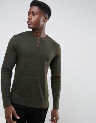 Threadbare Space Dye Long Sleeve Grandad T-Shirt - Green
