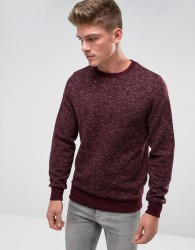 Threadbare Space Dye Quilted Crew Neck Sweat - Red