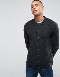Threadbare Textured Knitted Shirt Cardigan - Grey