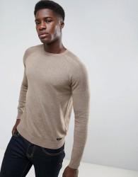 Threadbare Textured Shoulder Knit Jumper - Brown