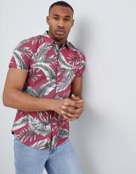 Threadbare Tropical Print Shirt - Red