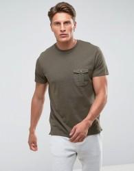Threadbare Woven Pocket T-Shirt - Green