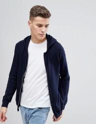 Threadbare Zip Through Knitted Hoodie - Navy