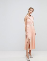 Three Floor Asymmetric Shoulder Pleated Midi Dress - Pink