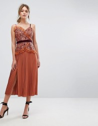 Three Floor Cami Strap Midi Dress with Lace and Pleated Skirt - Orange