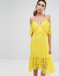 Three Floor Cold Shoulder Midi Lace Dress - Yellow