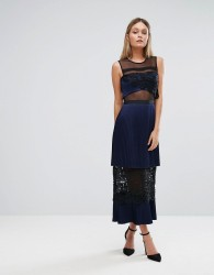 Three Floor Double Tiered Midi Dress With Lace Inserts - Navy