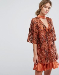 Three Floor Embroidered Shift Dress With Kimono Sleeve - Orange