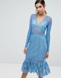 Three Floor Lace Midi Dress with Frill Hem - Blue