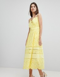 Three Floor Lace Midi Dress - Yellow