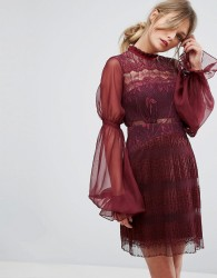 Three Floor Lace Mini Dress with Blouson Sleeves - Red