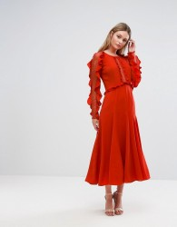 Three Floor Long Sleeved Midi Dress With Frill Detail - Red