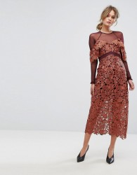 Three Floor Midi Dress in Crochet Lace with Mesh Sleeves - Orange