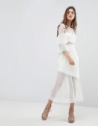 Three Floor Midi Dress With Fluted Overlay Sleeve - White