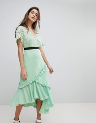 Three Floor Midi Dress With Lace Bodice - Green