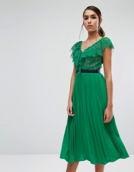 Three Floor Midi Dress with Pleated Skirt and Frill Detail - Green