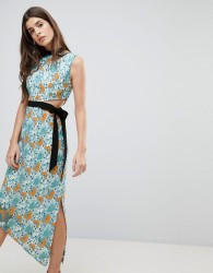 Three Floor Midi Dress With Tie Detail - Multi
