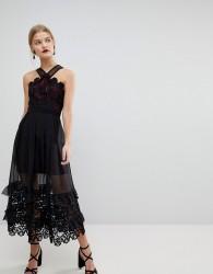 Three Floor Mini Dress With Pleated Overlay Skirt - Navy