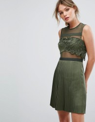 Three Floor Mini Dress With Pleated Satin Skirt - Green