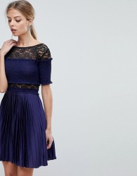 Three Floor Pleated Mini Dress With Lace Inserts - Navy