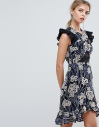 Three Floor Printed Asymmetric Hem Mini Dress With Lace Insert - Multi