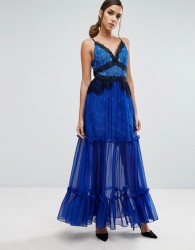 Three Floor Tiered Maxi Dress with Lace Detail - Blue