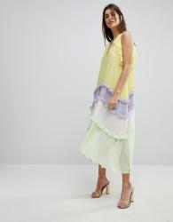 Three Floor Tiered Midi Dress With Frill Detail - Multi