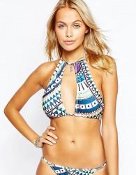 Tiger Mist Dreaming Away Print High Neck Bikini Top - Multi