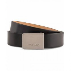 Tiger of Sweden Churberg Leather 3 cm Buckle Belt Black