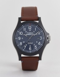 Timex Arcadia leather watch 40mm exclusive to ASOS - Brown