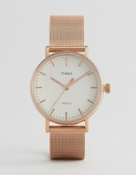 Timex Fairfield 37mm Mesh Watch In Rose Gold - Gold