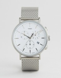 Timex Fairfield Chronograph 41mm Mesh Watch In Silver - Silver