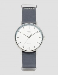Timex Fairfield Leather Watch In Grey TW2P91300 - Black