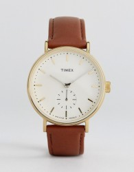 Timex Fairfield Sub-Second Leather Watch In Tan - Tan