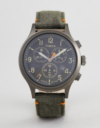 Timex TW2R60200 Expedition Chronograph Leather Watch In Olive - Green